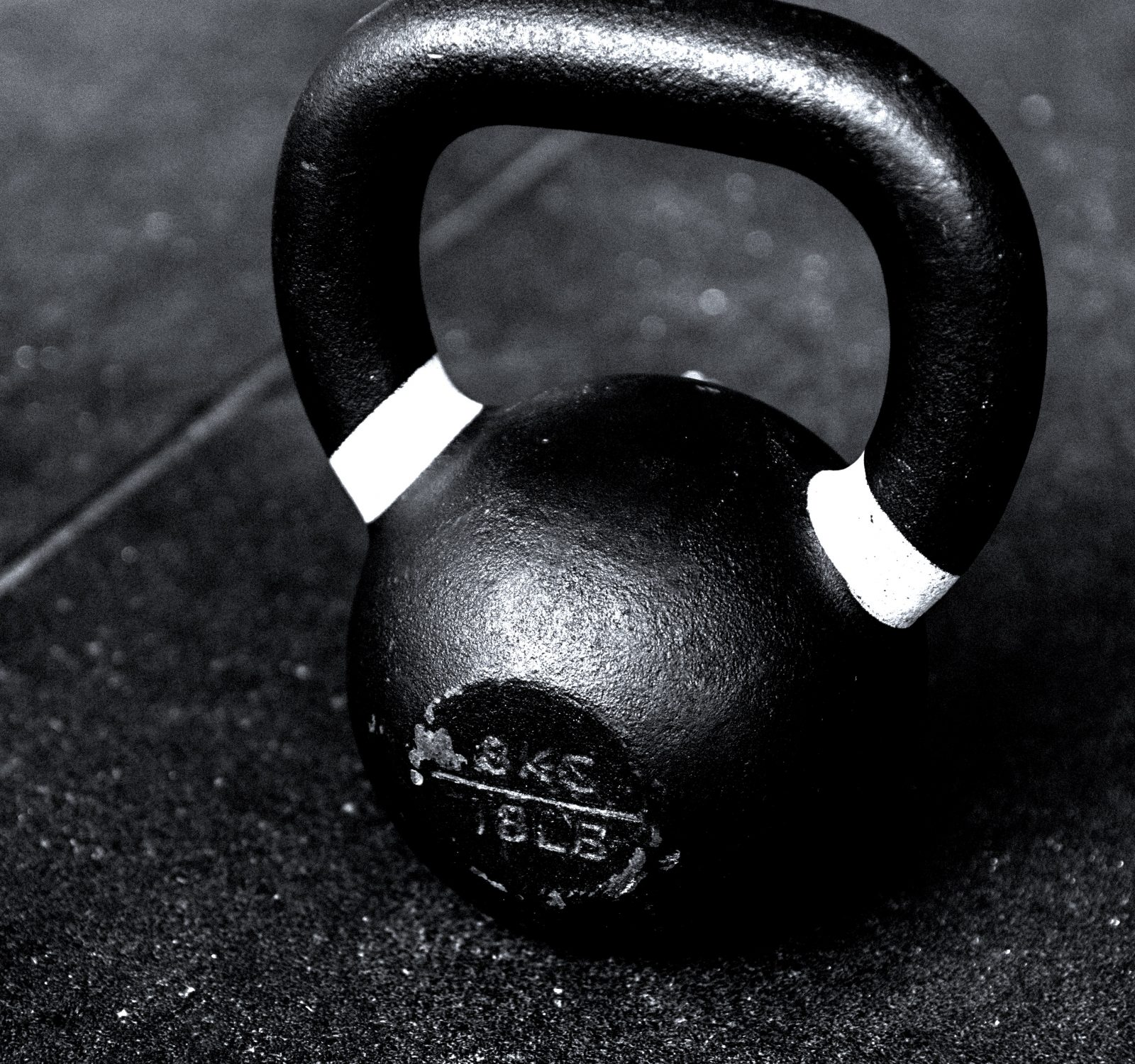 kettle bell in black and white